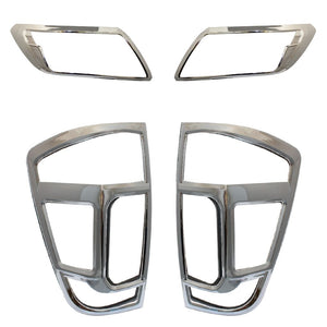 CHROME Front & Rear Head Tail Light Cover Guard Trims For  Nissan Navara NP300