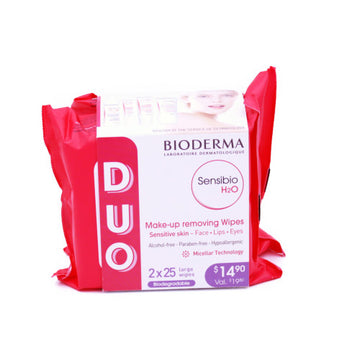 Bioderma Sensibio H2O Wipes 2*25 Large Wipes