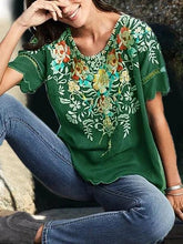 Load image into Gallery viewer, Women Boho Shirts Round Neck Floral Casual Floral