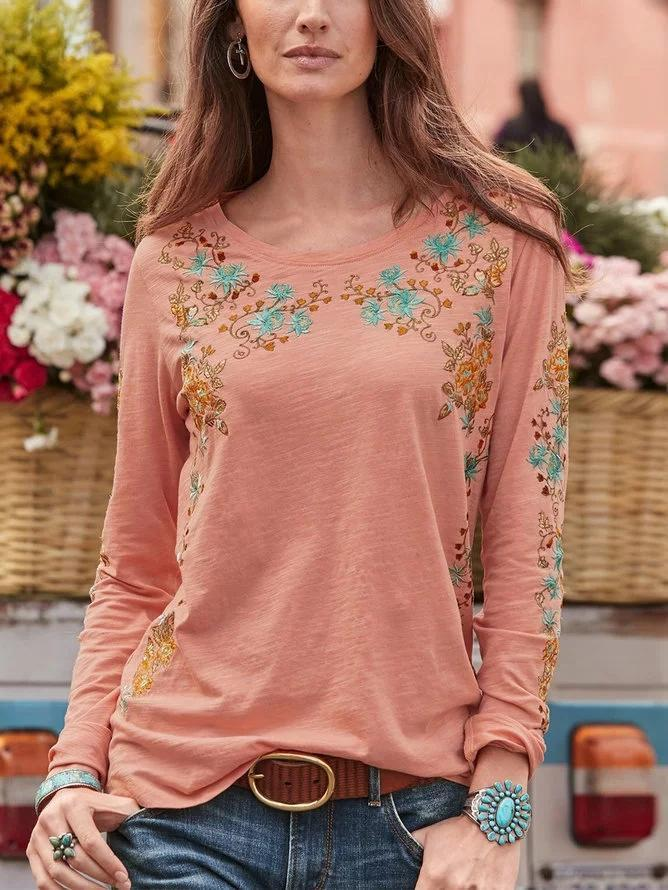 Boho Floral Casual Cotton Round Neck Long Sleeve Shirts Tops