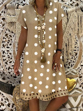 Load image into Gallery viewer, Women V-Neck Short Sleeve Hollow Polka Dot Summer Dress