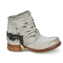 Load image into Gallery viewer, Women Fashion Leather Buckle Hollow Ankle Boots