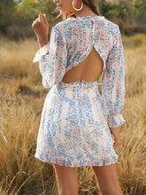 Load image into Gallery viewer, 2020 deep v neck floral printed slim backless mini dress-white blue
