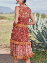 Load image into Gallery viewer, Fashion v neck color block printed flounce decorated vacation dress