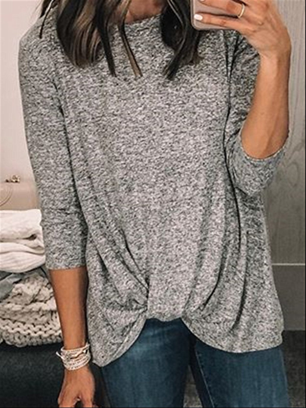 Autumn Casual Basic Daily Cotton Long Sleeve Top