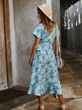 Load image into Gallery viewer, Vintage V Neck High Waist Belted Floral Printed Maxi Dress