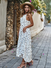 Load image into Gallery viewer, Summer Halter Dot Printed Defined Waist Maxi Dress