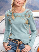 Load image into Gallery viewer, Boho Floral Casual Cotton Round Neck Long Sleeve Shirts Tops