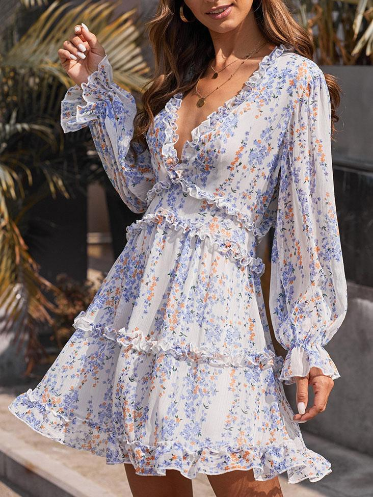 2020 deep v neck floral printed slim backless mini dress-white blue