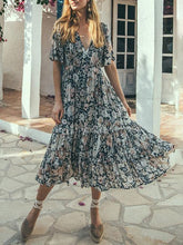 Load image into Gallery viewer, Chic v neck floral printed defined waist vacation dress