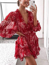Load image into Gallery viewer, 2020 red  deep v neck floral printed slim backless mini dress
