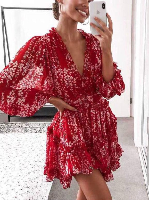 2020 red  deep v neck floral printed slim backless mini dress