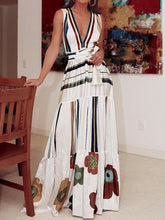 Load image into Gallery viewer, 2020 deep v neck colorful striped printed belted vacation dress