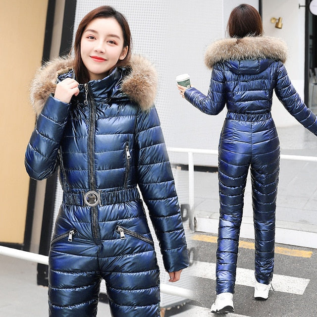 Jttyyk One Piece Ski Suit Women Winter Fur Hooded Jumpsuit Cotton Padd Jasmines Fashion Boutique