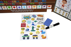 Fun stickers and dry erase marker and eraser included.