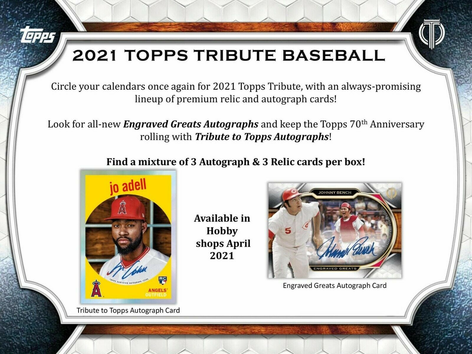 2021 Topps Tribute Baseball Hobby 6-Box Case (Presell) 04/09