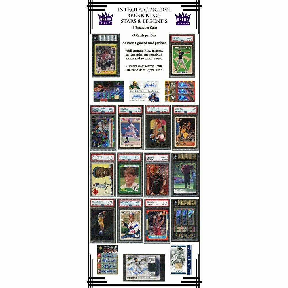2021 Break King Stars & Legends Hobby Box PreOrder 04/19