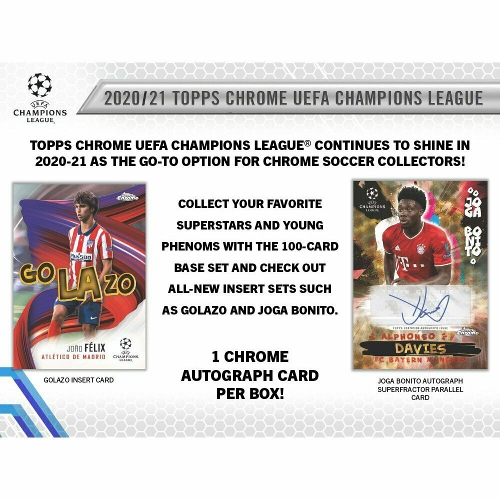 2020-21 Topps UEFA Champions League Chrome Soccer Hobby Box (Presell) 05/05