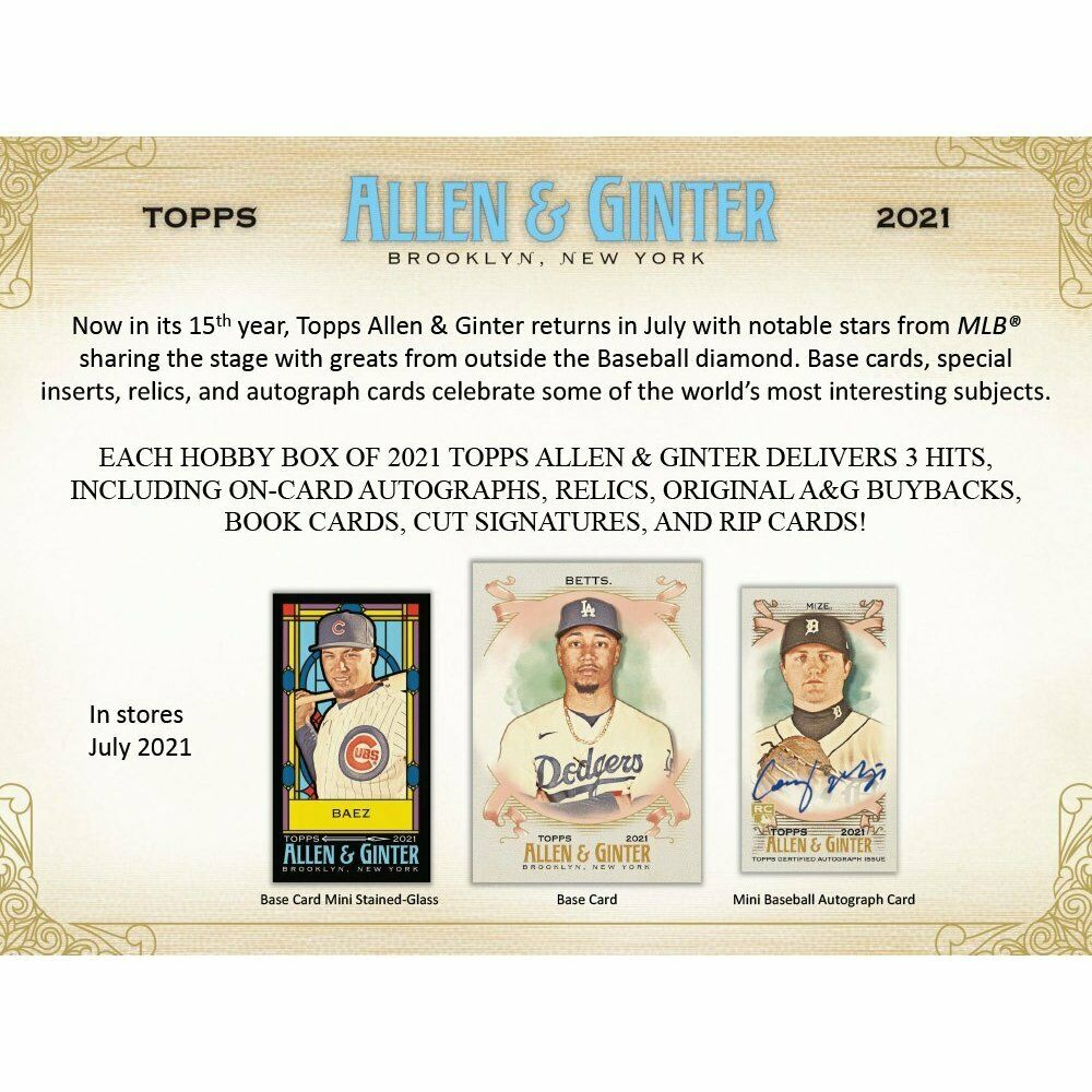 2021 Topps Allen & Ginter Baseball Hobby Box PreOrder July 2021