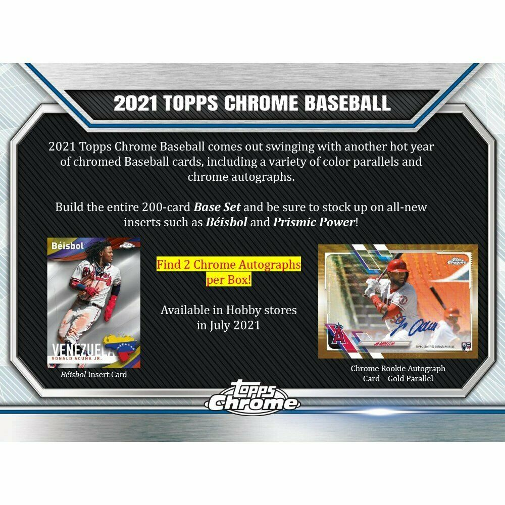 2021 Topps Chrome Baseball HTA Jumbo Hobby Box PreOrder July 2021