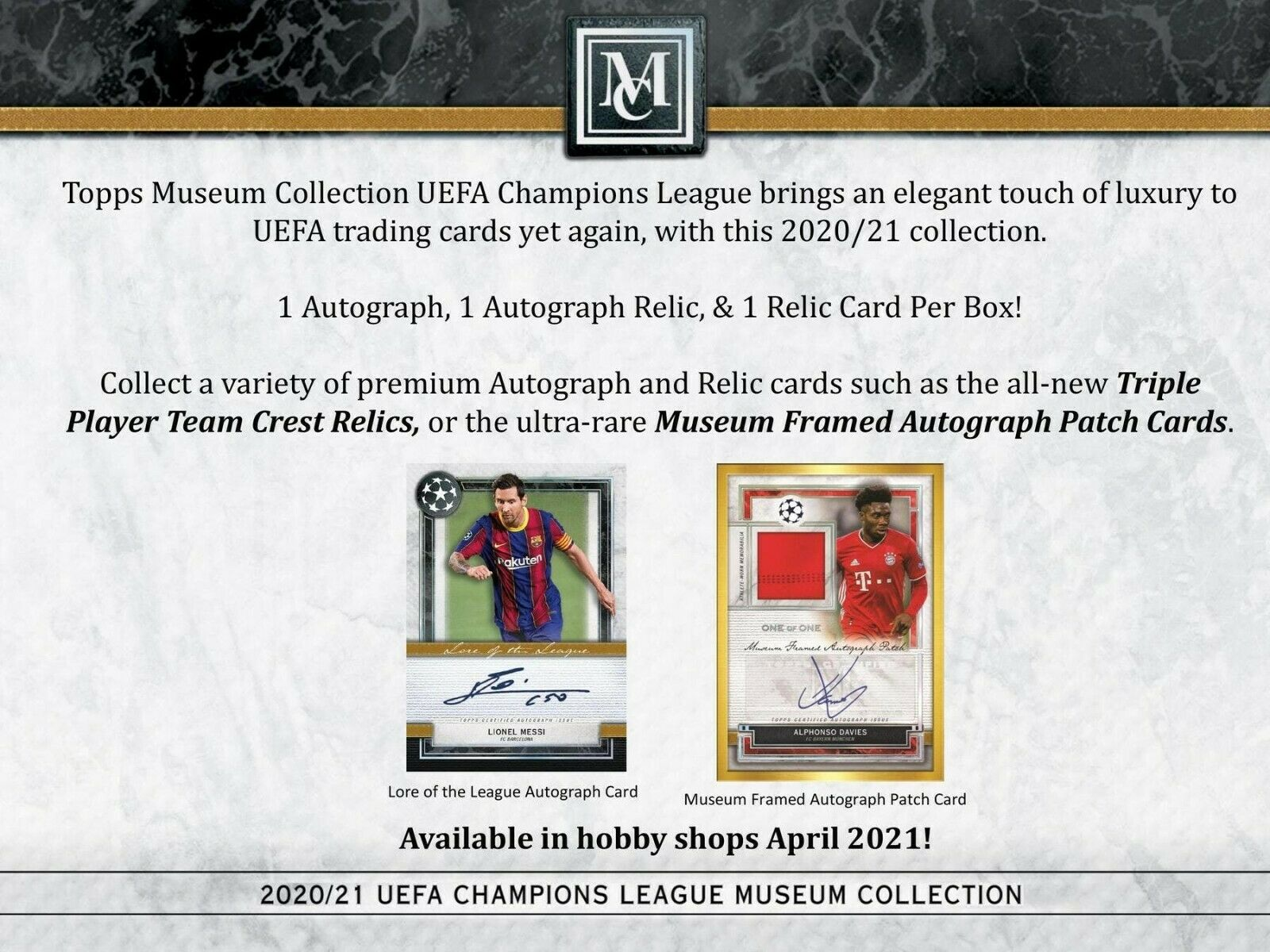 2020-21 Topps UEFA Champions League Museum Collection Soccer Hobby Box (Presell)