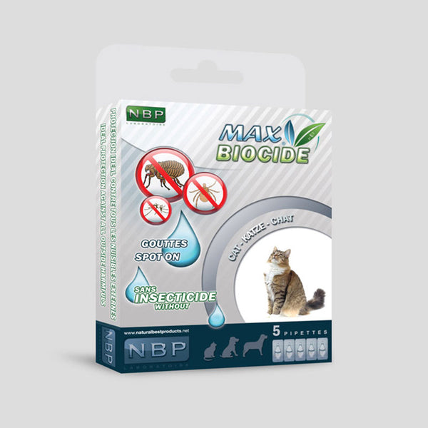 MAX BIOCIDE 5 pipettes for cats against Flea/Tick/Mosquitoes /Antiparassitario esterno per gatti - Pet Shop Luna SRL