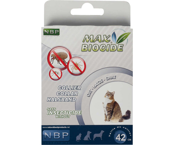 MAX BIOCIDE Collar 42 cm for cats against Flea/Tick/Mosquitoes 4 Months Protection / Collare antiparassitario per gatti - Pet Shop Luna SRL