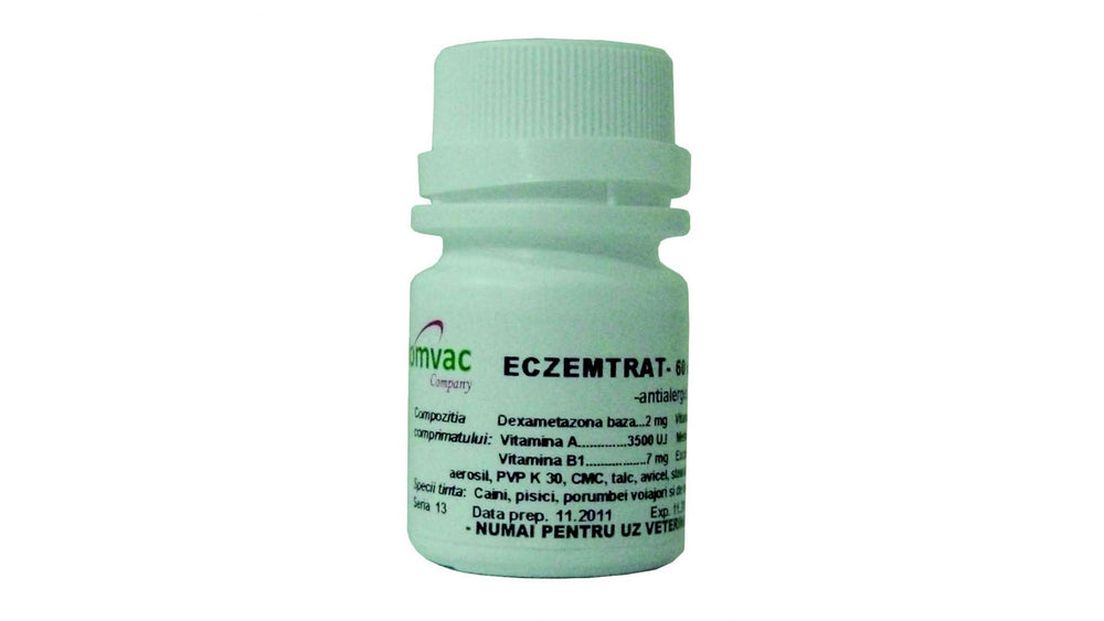 ECZEMTRAT 60 Tablets - Antiallergic recommended in the treatment of allergic eczema (including food), in chronic liver failure, stress, arthritis, otitis of the outer ear, in dogs, cats, pigeons,ornamental pigeons. - Pet Shop Luna SRL