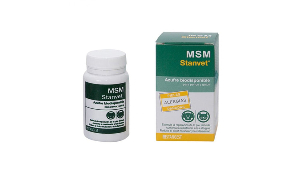 MSM, 60 tablets is a rich source of bioavailable sulfur. Sulfur is an essential mineral in all animal diets. In the past, they consumed it in fresh and unprocessed foods - Pet Shop Luna SRL
