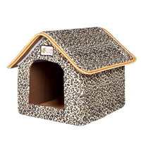 Pet House Foldable Bed With Mat Soft Winter Leopard Dog Puppy Sofa Cushion House Kennel Nest Dog Cat Bed For Small Medium Dogs - Pet Shop Luna SRL