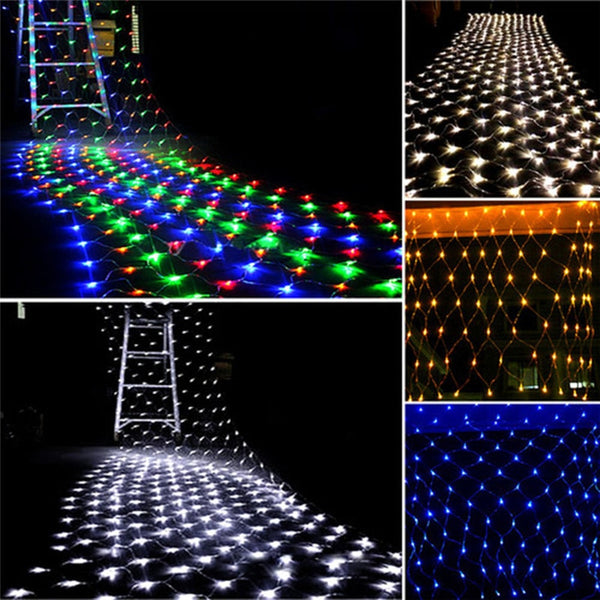 3x2m 1.5mX1.5m Christmas Garlands LED String Christmas Net Lights Fairy Xmas Party Garden Wedding Decoration Curtain Lights - Pet Shop Luna SRL