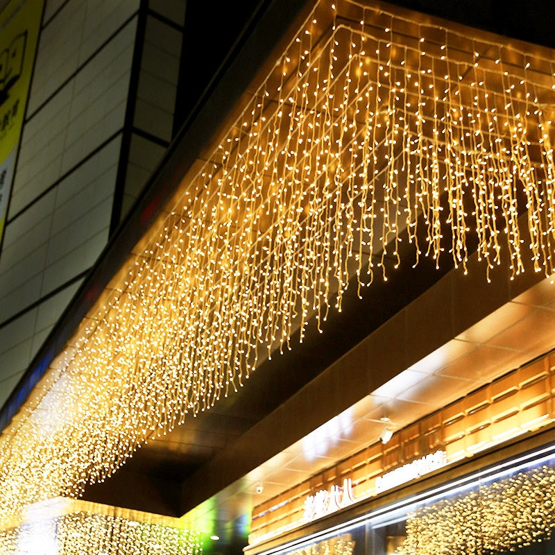 5M Christmas Garland LED Curtain Icicle String Lights Droop 0.4-0.6m AC 220V Garden Street Outdoor Decorative Holiday Light - Pet Shop Luna SRL