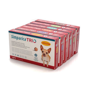 Simparica Trio for Dogs 3 x chewable tablets / per Cani, 3 compresse masticabili Antiparassitario - Pet Shop Luna SRL