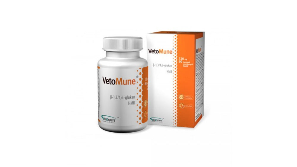 VetoMune 120 mg is a product that supports the improvement of non-specific immunity in dogs and cats, both humorally and cellularly. - Pet Shop Luna SRL