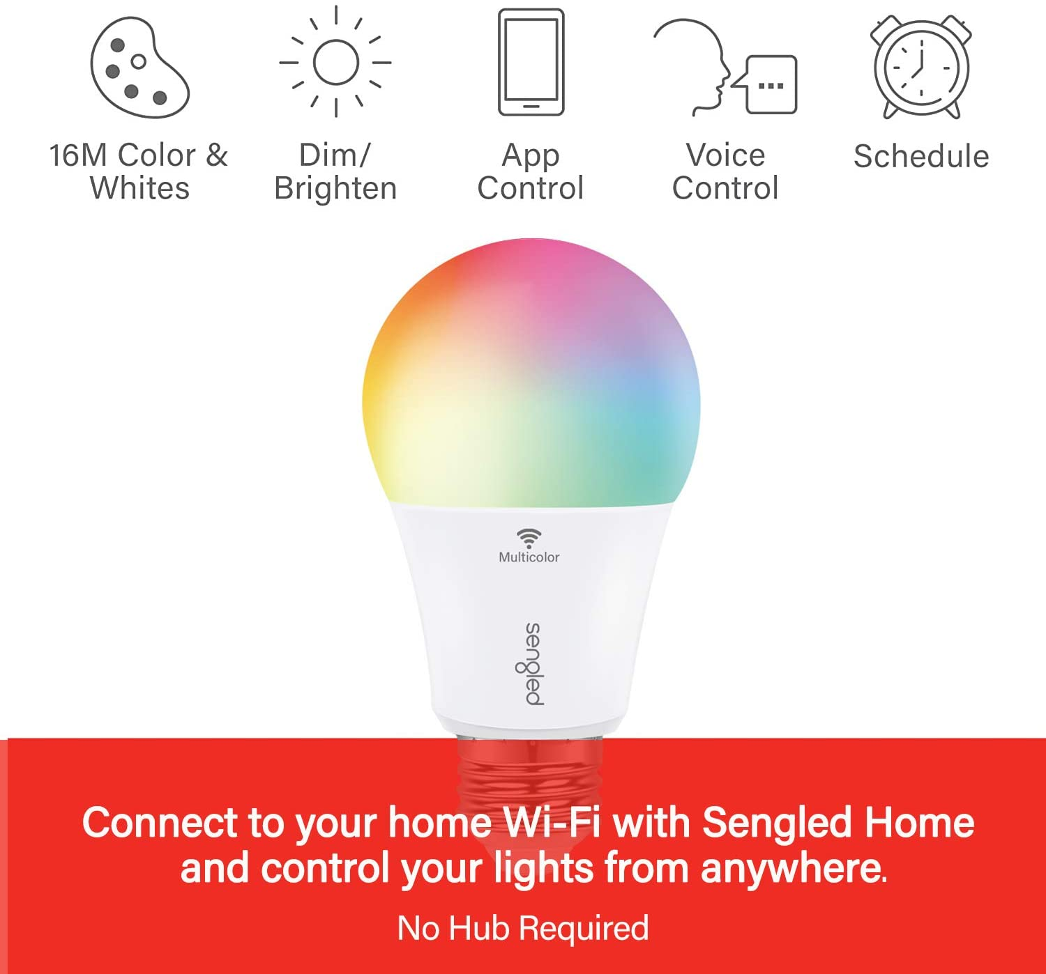 Foco Smart Sengled Wi-Fi LED RGB Multicolor A19 No Requiere Hub Funciona con Alexa & Google Assistant - TecnoMarket