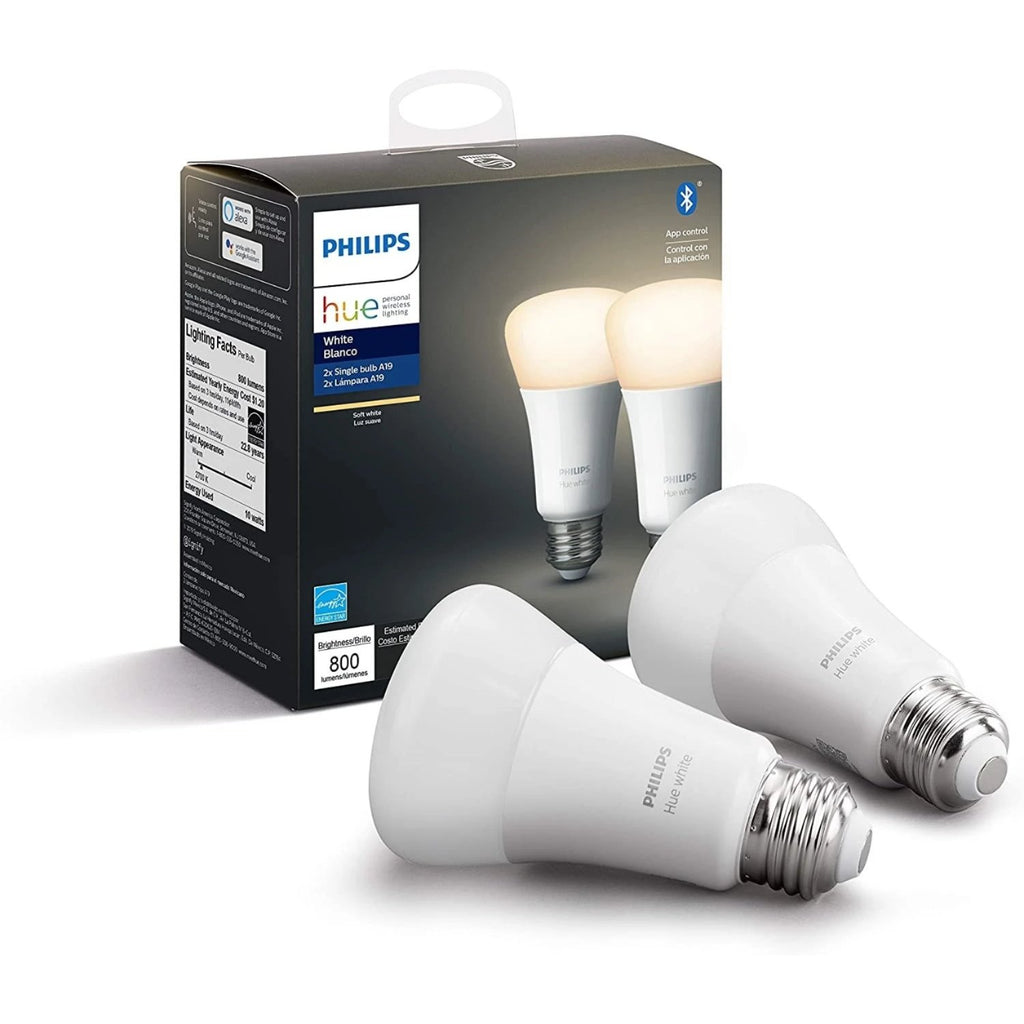 Philips Hue White Blanco Pack 2 Focos A19 LED Inteligente, Bluetooth & Zigbee Funciona con Alexa & Google Assistant - TecnoMarket