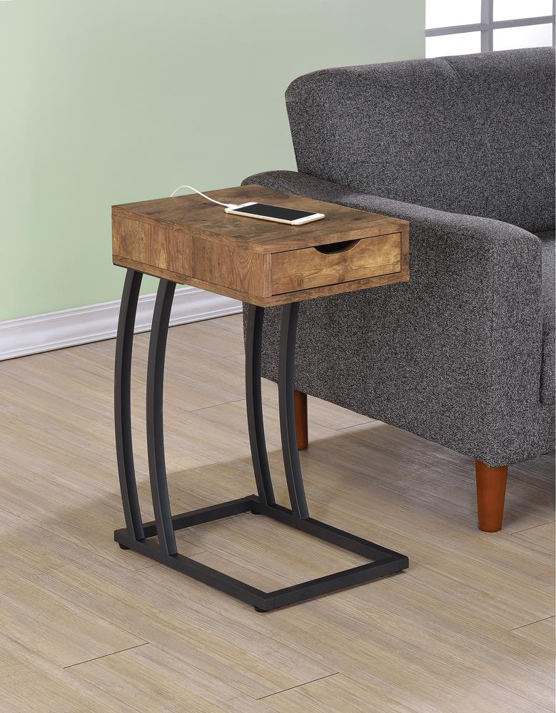 Industrial Antique Nutmeg Accent Table