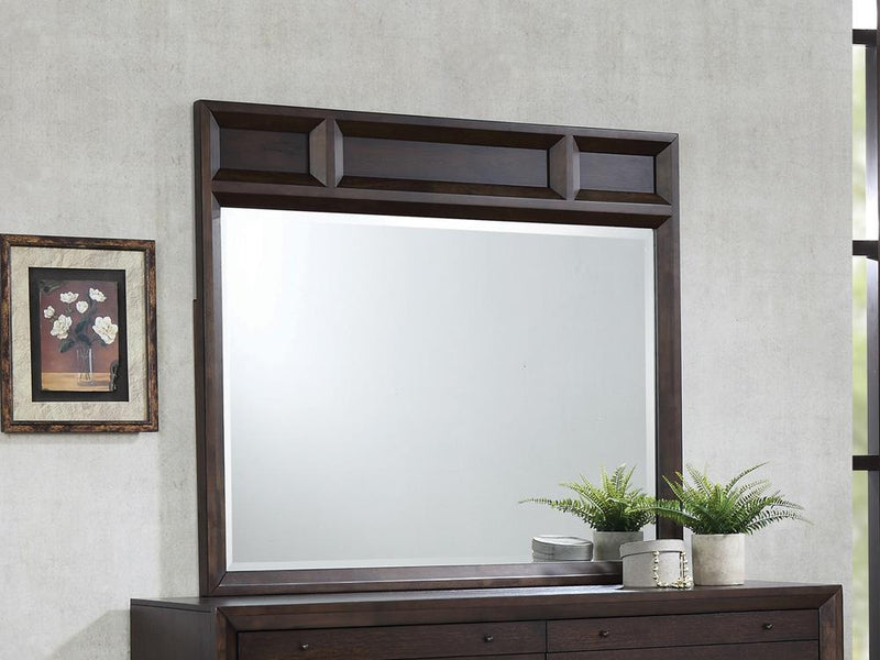 Bingham Retro-Modern Brown Oak Mirror