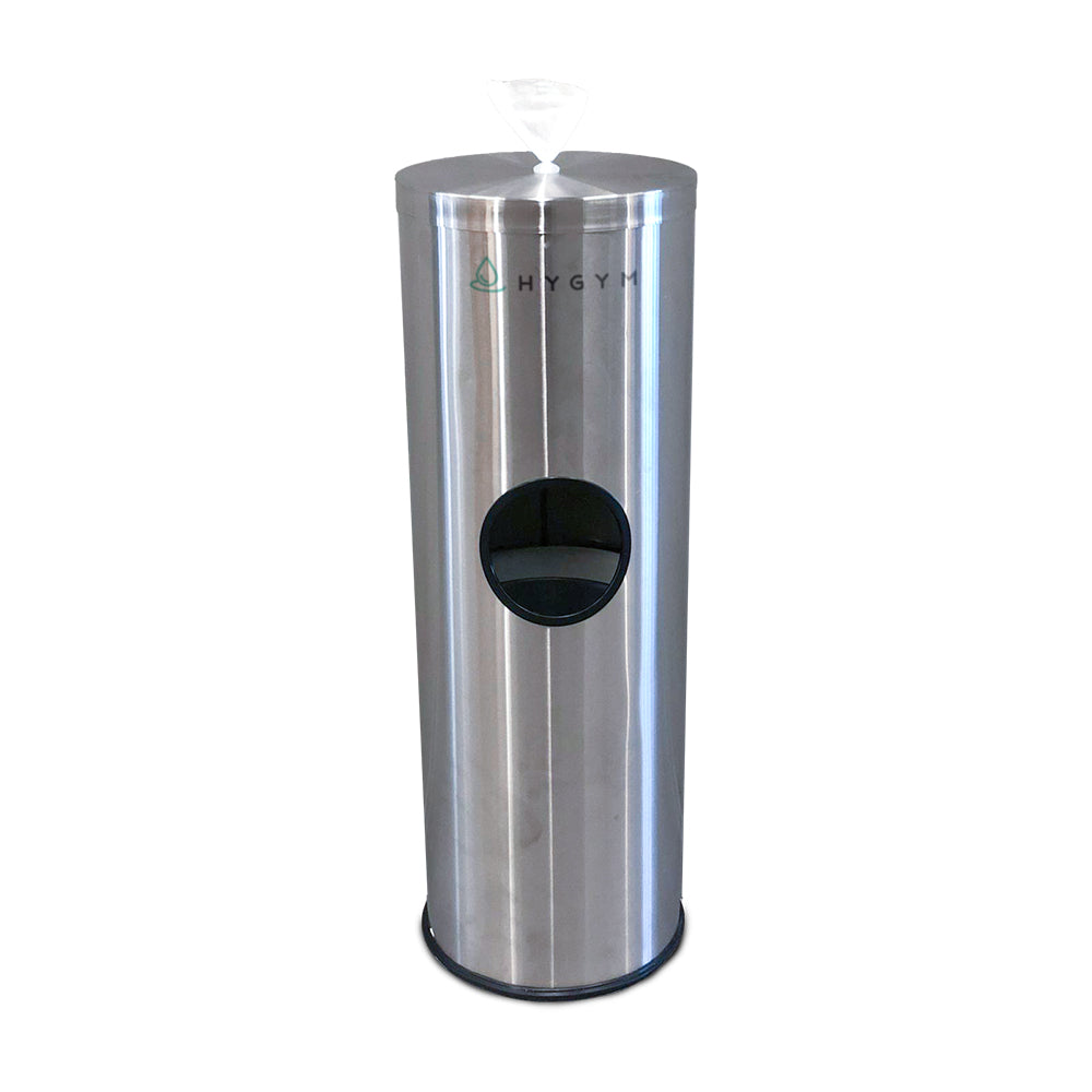 Floor-Standing Gym Wipe Dispenser with Waste Receptacle - HYGYM