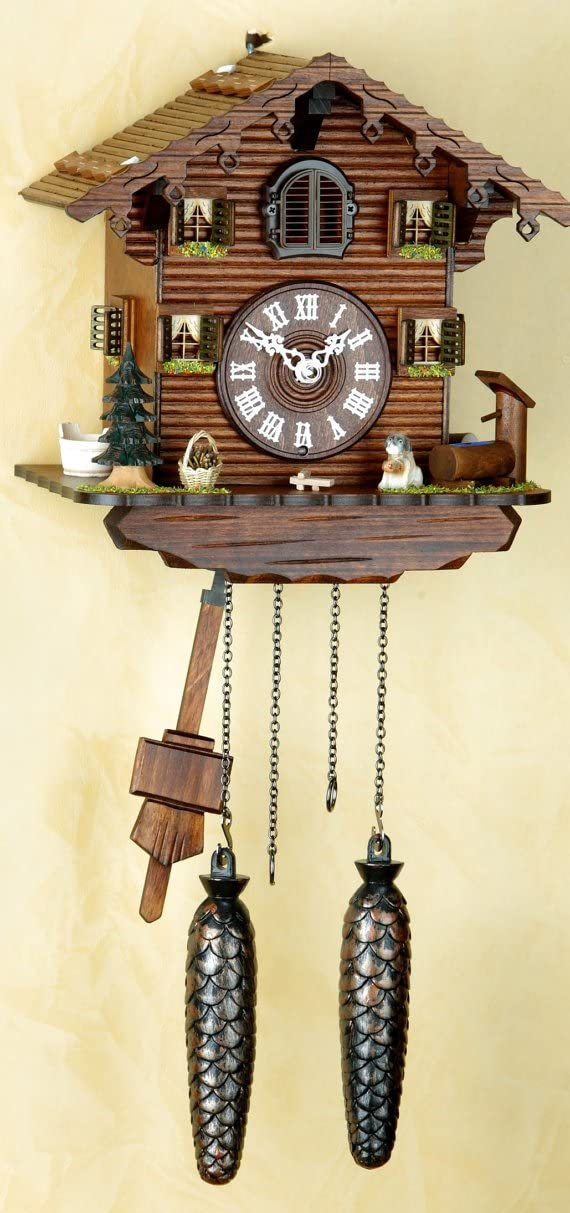 Original Schwarzwald- Kuckucksuhr- Schwarzwaldhaus mit Hund- Black Forest House and Dog-Cuckoo Clock