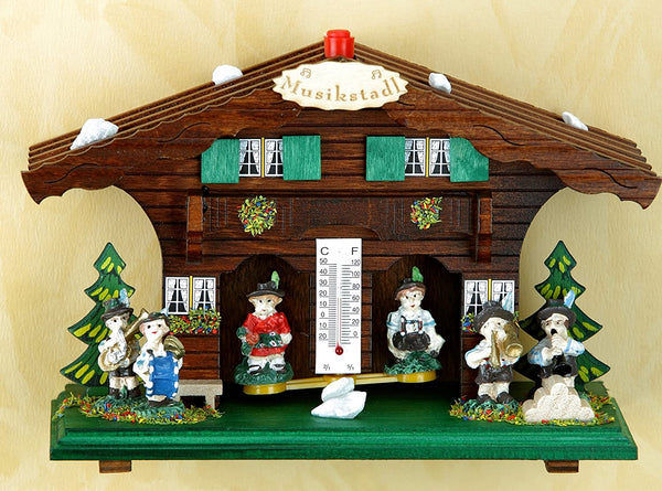 Original Schwarzwald- Wetterhaus 13 cm - Musizierende Figuren- Germany Black Forest- Weather Houses