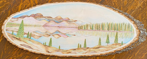 """Canadian Landscape"". Wood Burning & Watercolor on 26"" Natural Basswood."