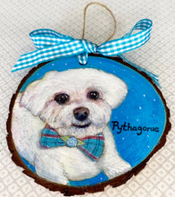 Load image into Gallery viewer, Hand Painted Wood Slice Pet Portrait Ornament (Round)