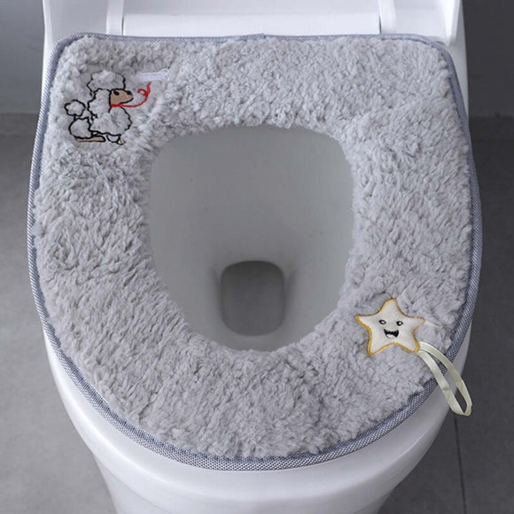 Winter warm toilet cover seat cover soft plush O-shape seat cover Lycra washable