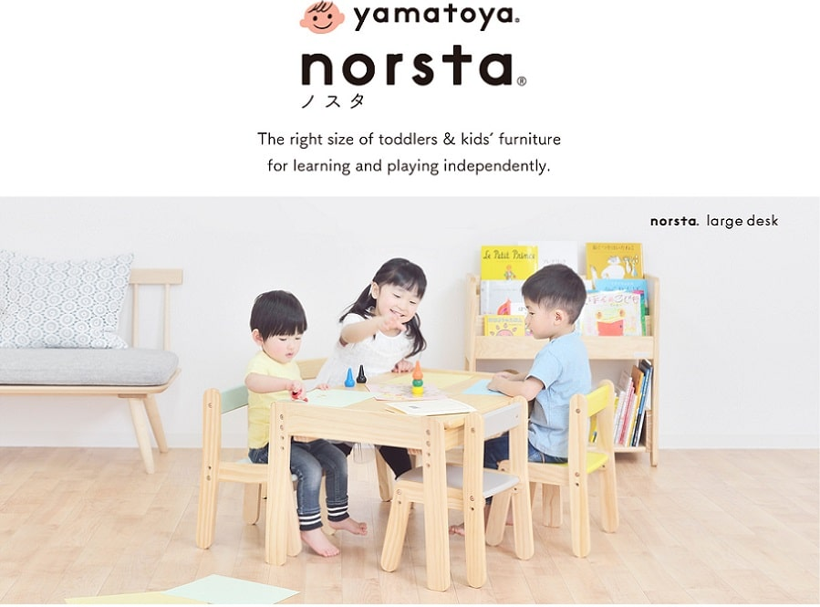 Yamatoya toddlers and kids furniture like liitle deks, little chair, book rack, and toy rack