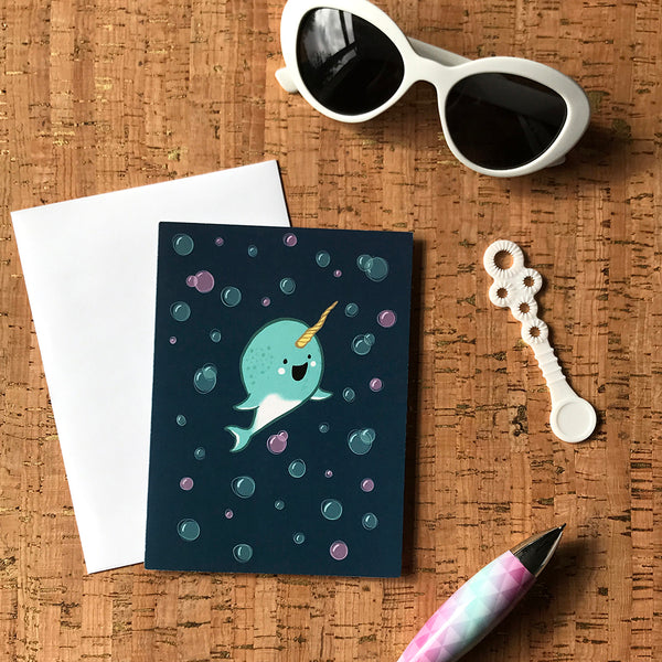Happy Baby Narwhal Note Card