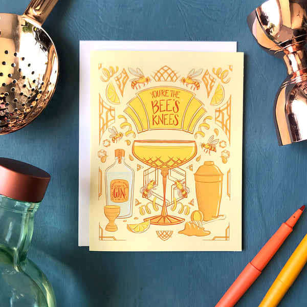 You're the Bee's Knees Art Deco Cocktail Greeting Card