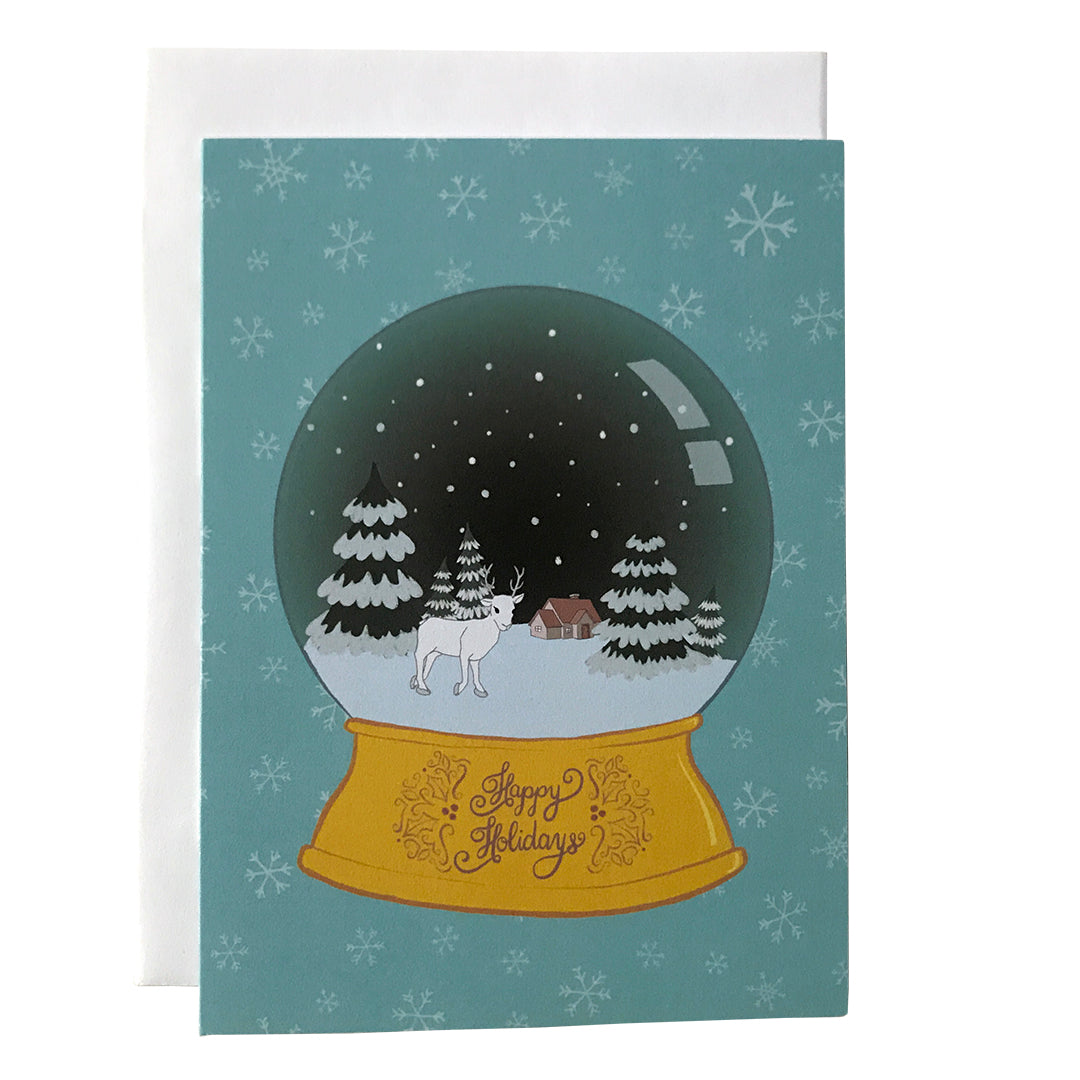 Snow Globe with Trees and Deer Happy Holidays Card