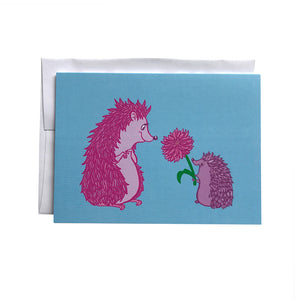 Hedgehog Flower Father's Day Card