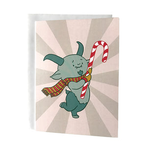 Cute Krampus Candy Cane Christmas Card